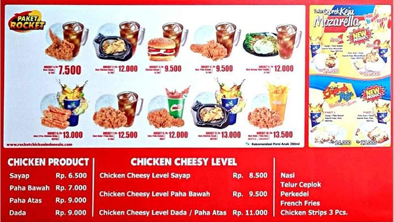 menu franchise rocket chicken
